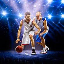 Två basketspelare och en boll